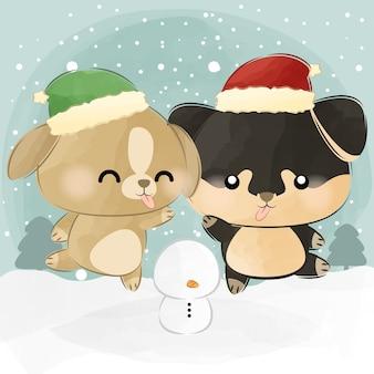 Mignon petit chien elfe et chien de père noël