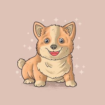 Mignon petit chiot souriant illustration vectorielle style grunge