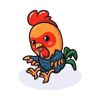 Mignon petit coq dessin animé sautant