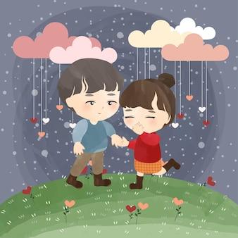 Mignon petit couple avec amour pluvieux