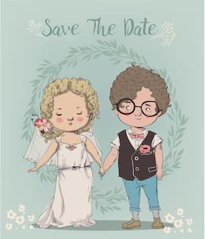 Mignon petit couple de mariage - jeunes mariés