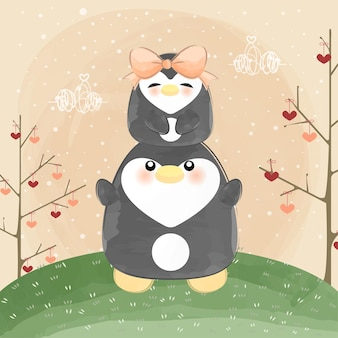 Mignon petit couple de pingouin
