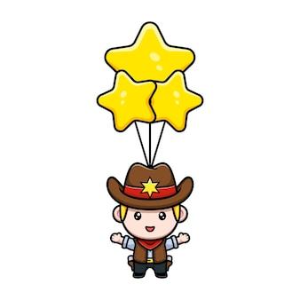 Mignon petit cow-boy flottant avec une illustration de mascotte de ballon étoile