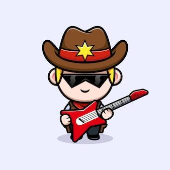 Mignon petit cow-boy avec illustration de mascotte de guitare