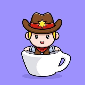 Mignon petit cow-boy à l'intérieur de l'illustration de la mascotte de la tasse