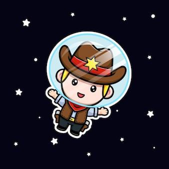 Mignon petit cowboy flottant sur l'illustration de la mascotte de l'espace