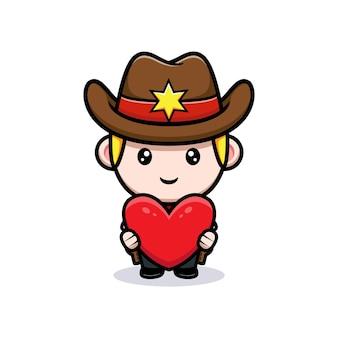 Mignon petit cowboy tenant une illustration de mascotte de coeur