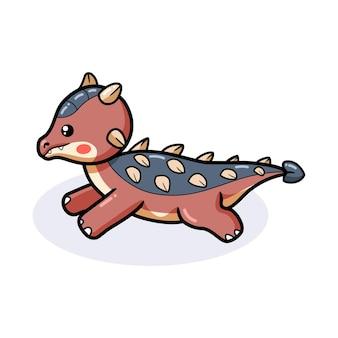 Mignon petit dessin animé de dinosaure ankylosaure en cours d'exécution