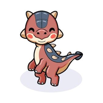 Mignon petit dessin animé de dinosaure ankylosaure debout