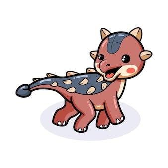 Mignon petit dessin animé de dinosaure ankylosaure