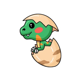 Mignon petit dessin animé de dinosaure éclos d'oeuf