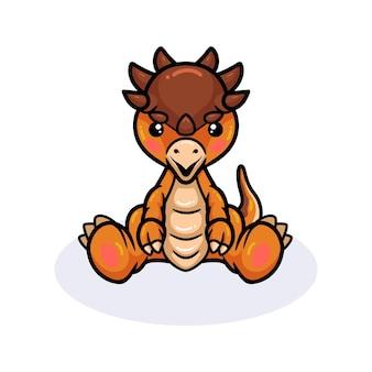 Mignon petit dessin animé de dinosaure pachycéphalosaure assis