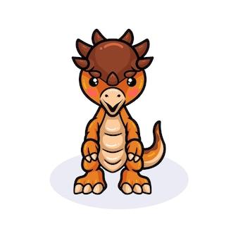 Mignon petit dessin animé de dinosaure pachycéphalosaure debout