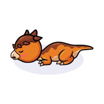 Mignon petit dessin animé de dinosaure pachycéphalosaure dormant