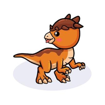 Mignon petit dessin animé de dinosaure pachycéphalosaure