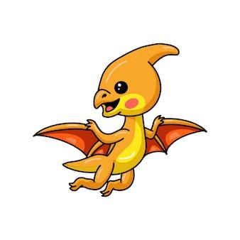 Mignon petit dessin animé de dinosaure ptérodactyle volant