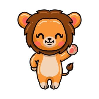 Mignon petit dessin animé de lion agitant la main