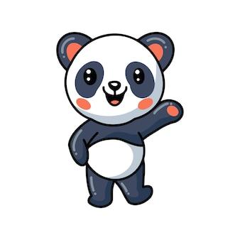 Mignon petit dessin animé de panda agitant la main