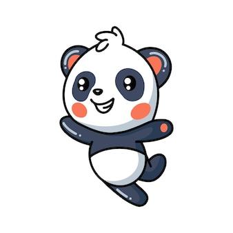 Mignon petit dessin animé de panda sautant