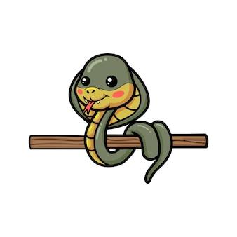 Mignon petit dessin animé de serpent cobra sur une branche d'arbre