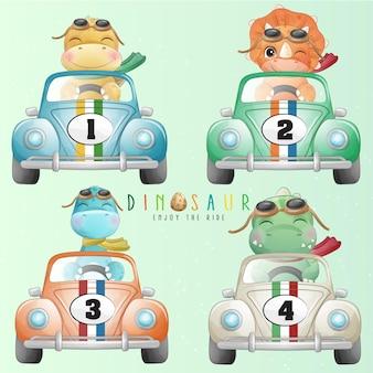 Mignon petit dinosaure au volant d'une voiture avec illustration aquarelle