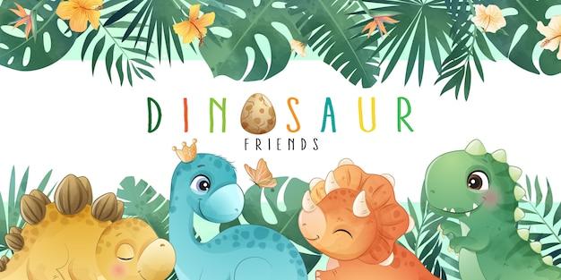 Mignon petit dinosaure avec collection aquarelle