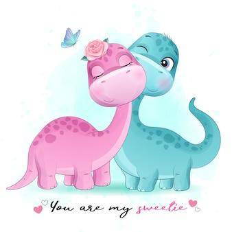 Mignon petit dinosaure avec illustration aquarelle
