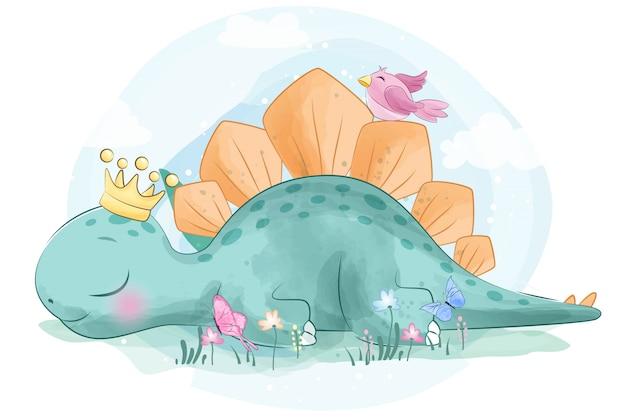 Mignon petit dinosaure avec oiseau