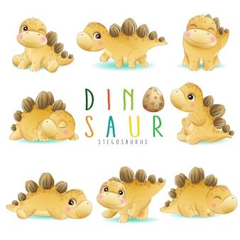 Mignon petit dinosaure pose avec illustration aquarelle