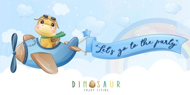 Mignon petit dinosaure volant avec illustration d'avion
