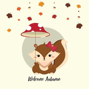 Mignon petit écureuil tenant un parapluie de champignon