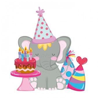 Mignon et petit éléphant avec chapeau de fête