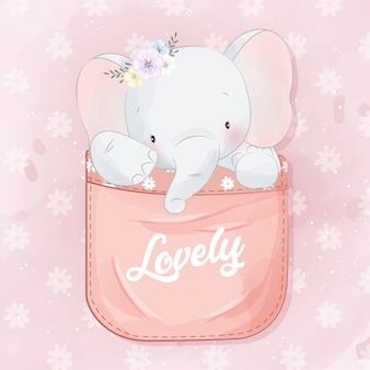 Mignon petit éléphant dans la poche