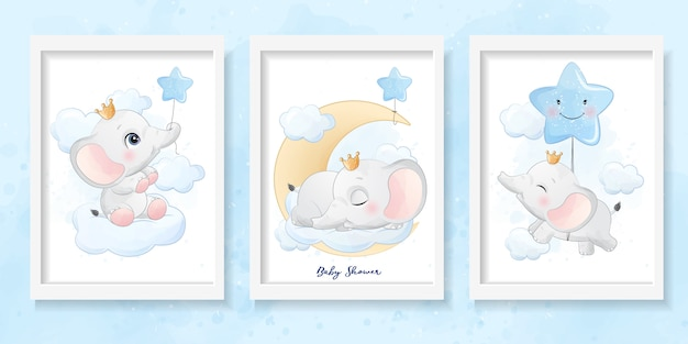 Mignon petit éléphant avec illustration aquarelle