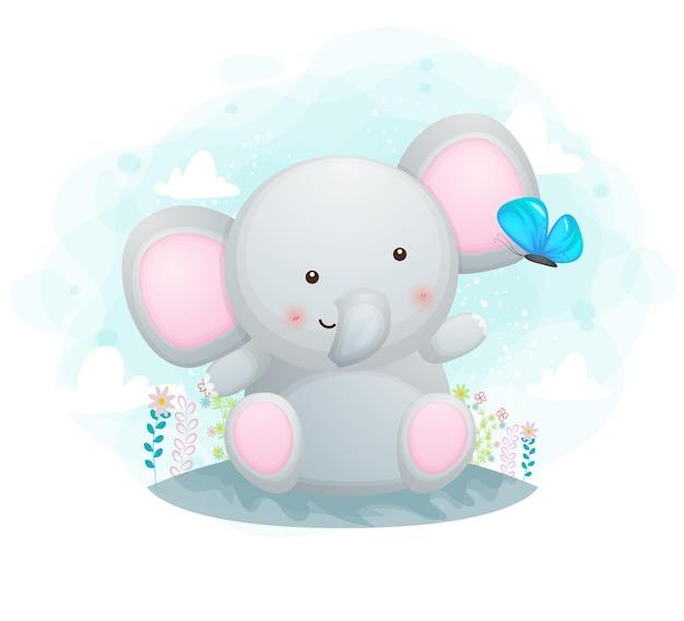 Mignon petit éléphant jouant avec papillon
