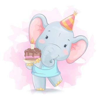 Mignon petit éléphant tenant un gâteau avec bougie