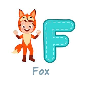 Mignon Petit Enfant Porter Un Costume Pour Apprendre L'alphabet Vecteur Premium
