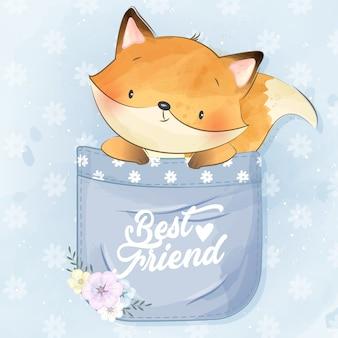 Mignon petit foxy à l'intérieur de la poche