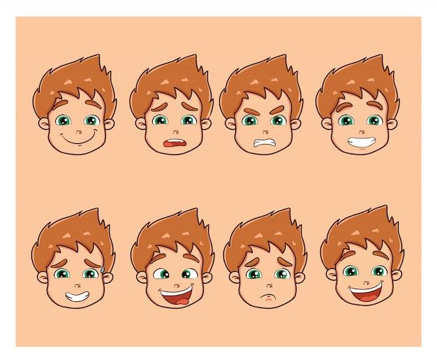 Mignon petit garçon avec différentes émotions