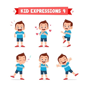 Mignon petit garçon enfant dans diverses expressions et ensemble de gestes