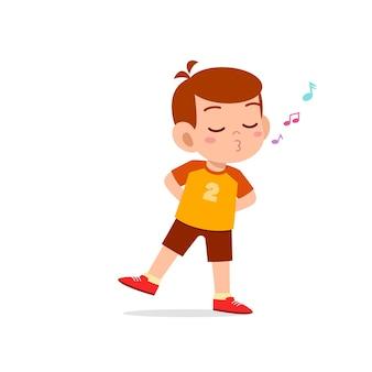 Mignon Petit Garçon Enfant Debout Et Sifflant Avec La Bouche Vecteur Premium