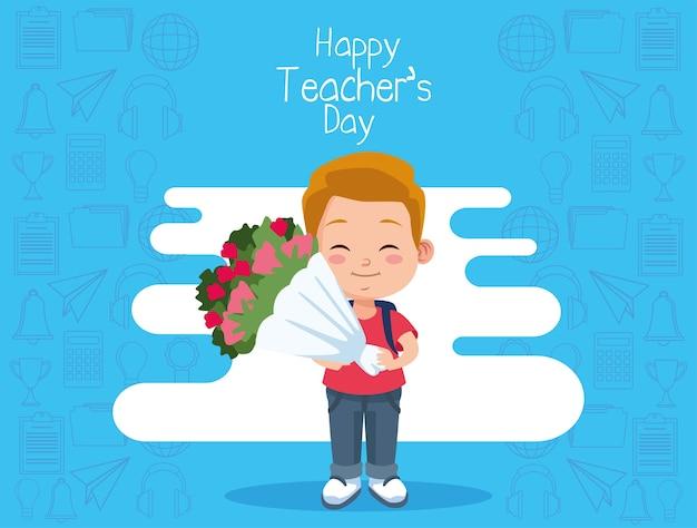 Mignon petit garçon étudiant avec bouquet de fleurs et lettrage de jour des enseignants heureux