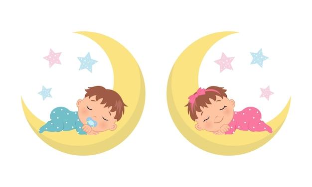 Mignon petit garçon et fille dormant sur le croissant de lune le sexe du bébé révèle une illustration style de dessin animé de vecteur plat