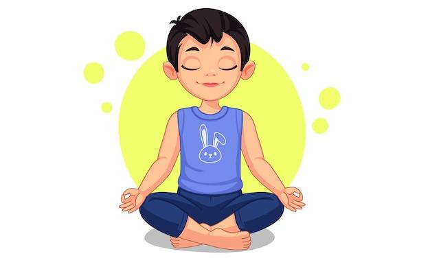 Mignon petit garçon en illustration de pose d'yoga