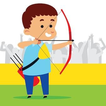 Mignon petit garçon jouant au tir à l'arc