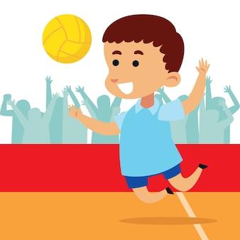 Mignon petit garçon jouant au volleyball