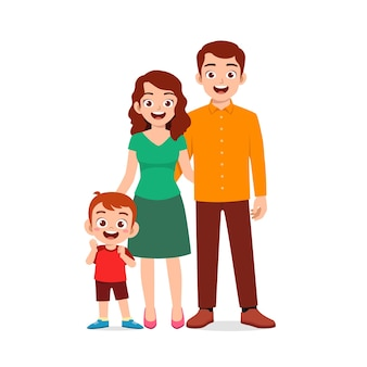 Mignon petit garçon avec maman et papa ensemble