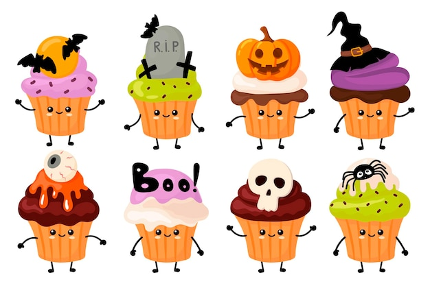 Mignon petit gâteau kawaii halloween. style de bande dessinée
