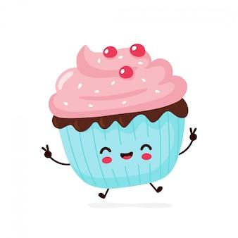 Mignon petit gâteau souriant heureux. personnage de dessin animé.