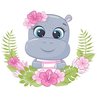 Mignon petit hippopotame avec guirlande de fleurs d'hawaï cartoon